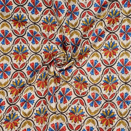 White-Red and Blue Flower Design Kalamkari Manipuri Silk Fabric-16262