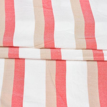 White Red and Cream Stripe Handloom Cotton Fabric-42521