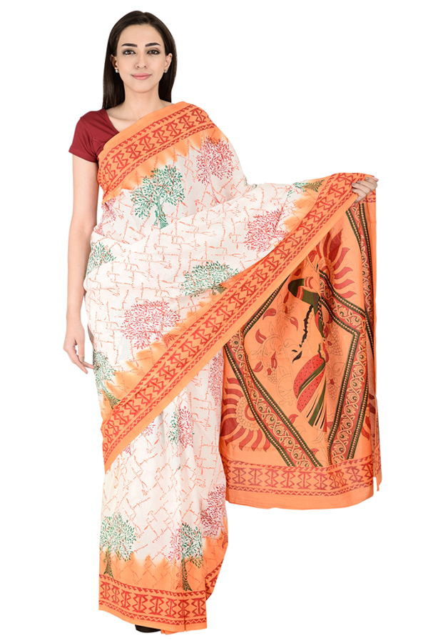 White-Red and Green Cotton Block Print Kalamkari Saree-20138