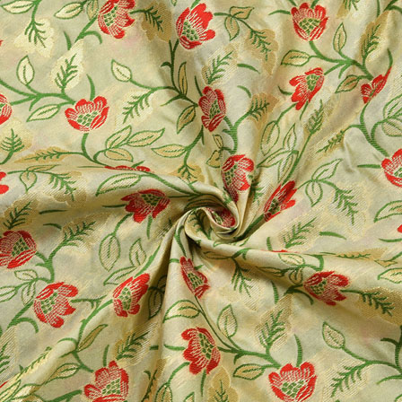 White Red and Green Floral Banarasi Silk Fabric-12189