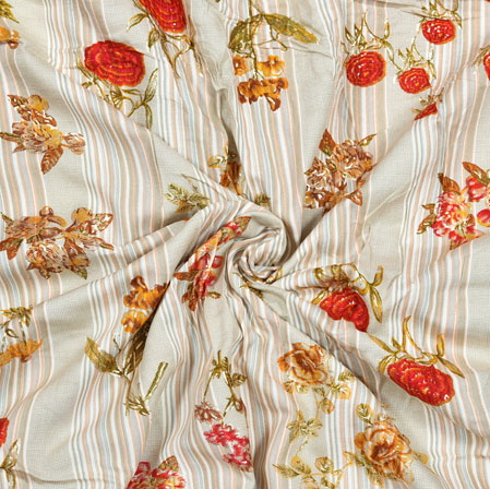 White Red and Green Floral Cotton Flex Fabric-28172