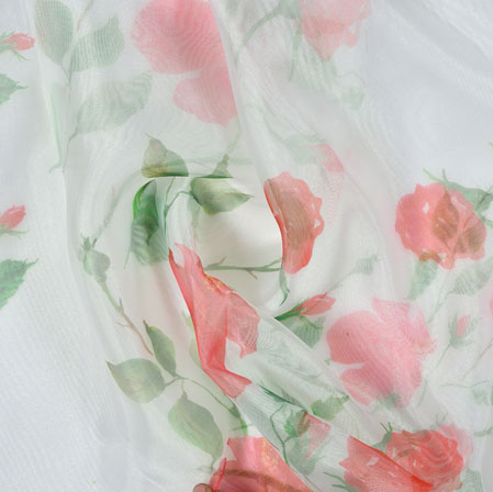 White Red and Green Floral Organza Silk Fabric-22099