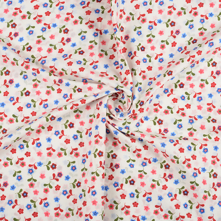 White-Red and Green Flower Design Block Print Fabric-14423
