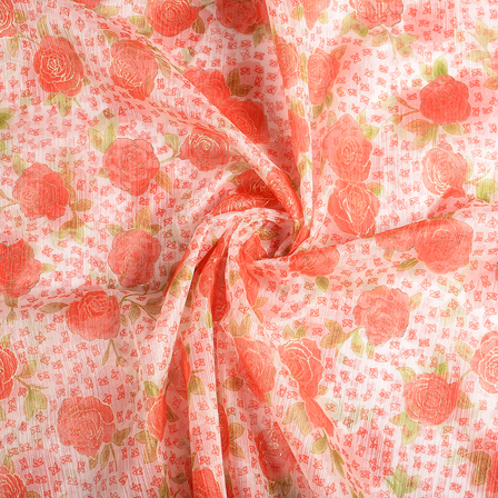 White-Red and Green Flower Organza Print Fabric-51285