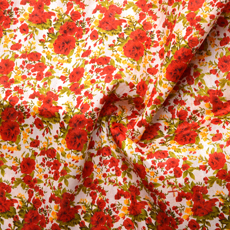 White-Red and Green Flower Pattern Banglori Silk Fabric-4900