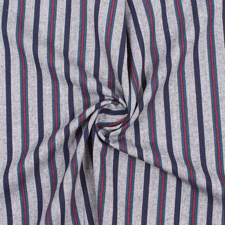 White Red and Green Stripe Handloom Khadi Cotton Fabric-40485