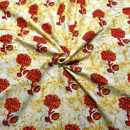 White-Red and Orange Floral Design Block Print Cotton Fabric-14206