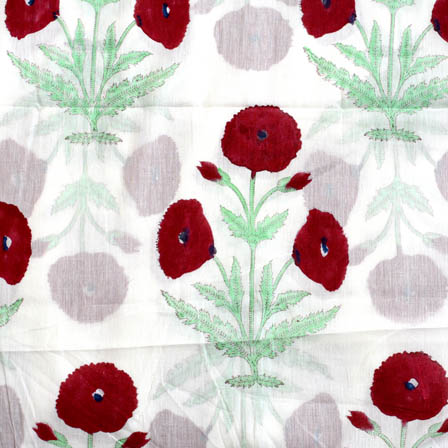 White-Red flower cotton mughal block print fabric-4550