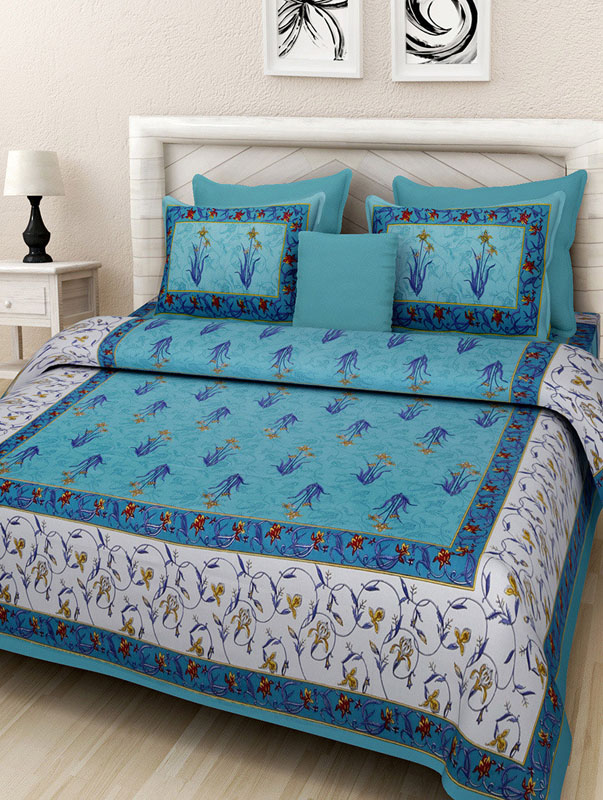 White Sea Green Cotton Jaipuri Bedsheet-676