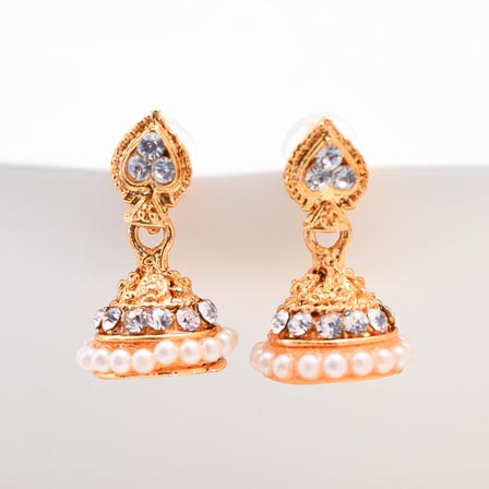 White Stone and White Moti Golden polish Jhumki for women