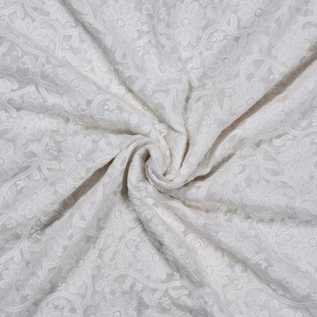 White White Flower Cotton Net Jacquard Fabric-28300