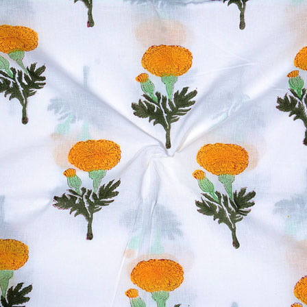 White Yellow Block Print Cotton Fabric-14695