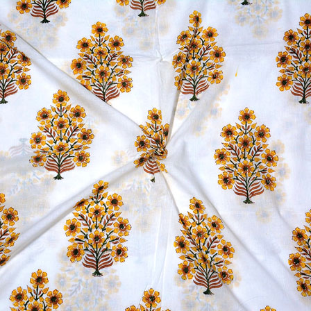 White Yellow Block Print Cotton Fabric-14705