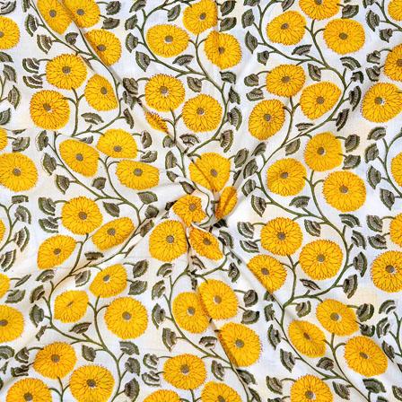 White Yellow Block Print Cotton Fabric-14721