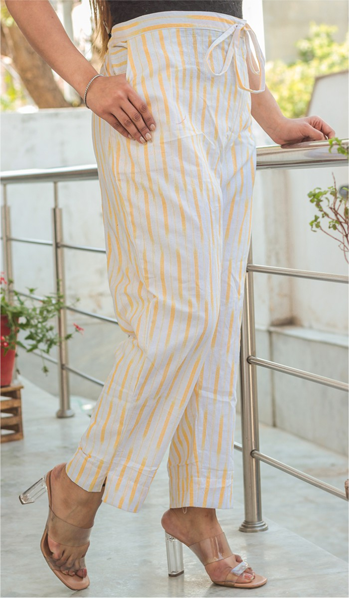 White Yellow Cotton Ikat Ankle Women Pant-34661