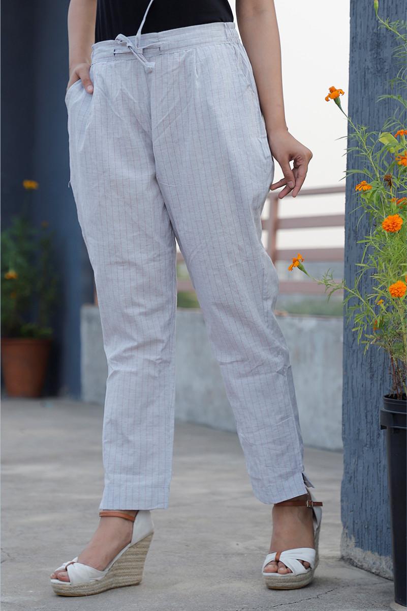 White Yellow Cotton Khadi Stripe Pant with Belt-34052