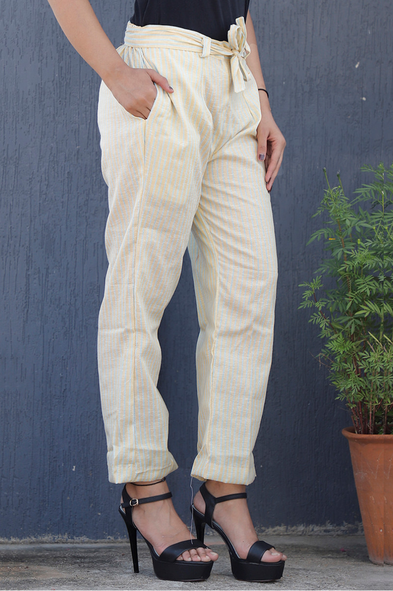 White Yellow Cotton Stripe Pant with Belt-34074