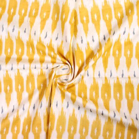 White Yellow Ikat Block Print Cotton Fabric-14827