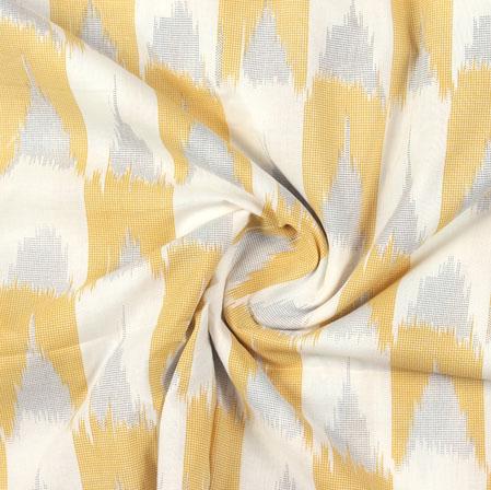White Yellow Ikat Block Print Cotton Fabric-16038