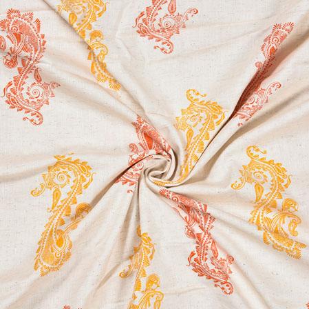 White Yellow Paisley Cotton Flex Fabric-28229