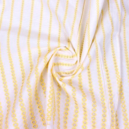 White Yellow Polka Lucknowi Chikan Fabric-95005