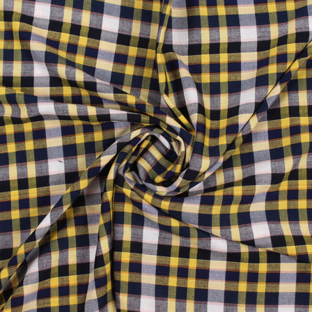 White Yellow and Black Check Handloom Khadi Cotton Fabric-40441