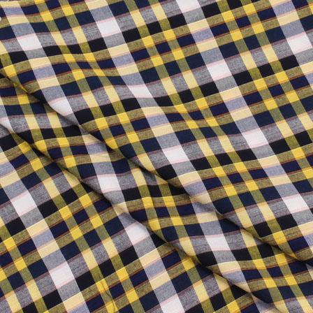 Shirt (2.25 Meter) Fabric-White Yellow and Black Check Handloom-140441