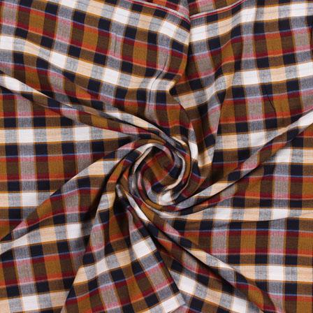 White Yellow and Black Check Handloom Khadi Cotton Fabric-40443