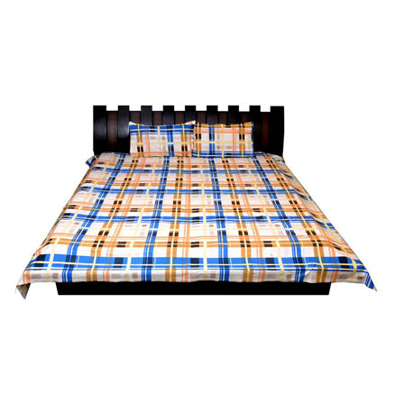 White-Yellow and Blue Checks Printed Cotton Double Bed Sheet-0G1