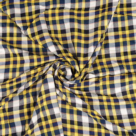 White-Yellow and Blue Checks Rayon Shirt Fabric-40253