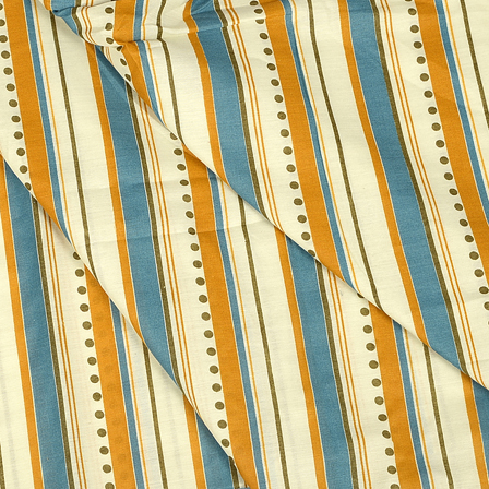 White-Yellow and Blue Lining Design Hand Block Muslin Fabric-20015