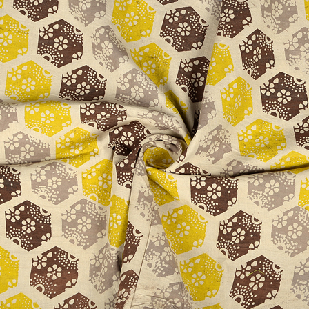 White-Yellow and Brown Floral Design Block Print Cotton Fabric-14366