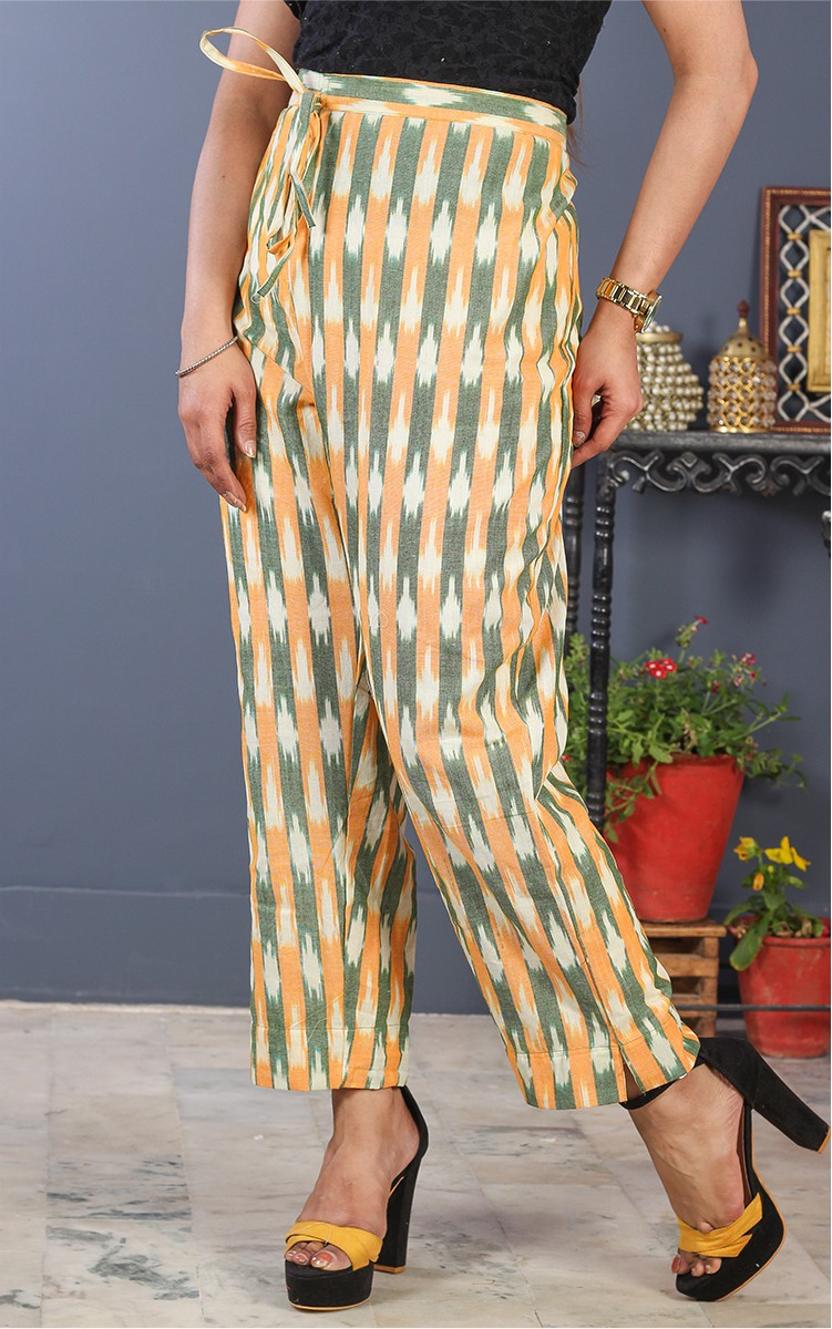 White Yellow and Gray Cotton Ikat Ankle Women Pant-34702