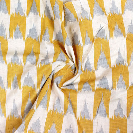 White Yellow and Gray Ikat Block Print Cotton Fabric-14831