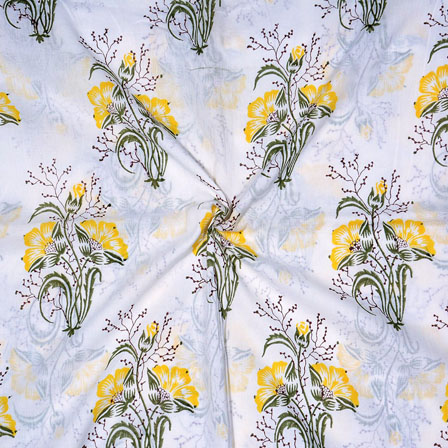 White Yellow and Green Block Print Cotton Fabric-14701
