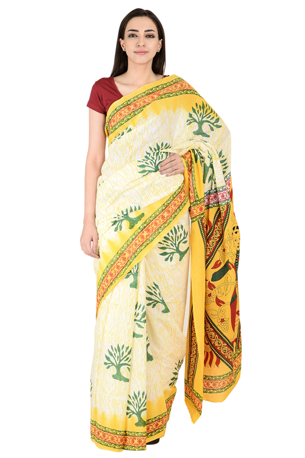 White-Yellow and Green Cotton Block Print Kalamkari Saree-20139