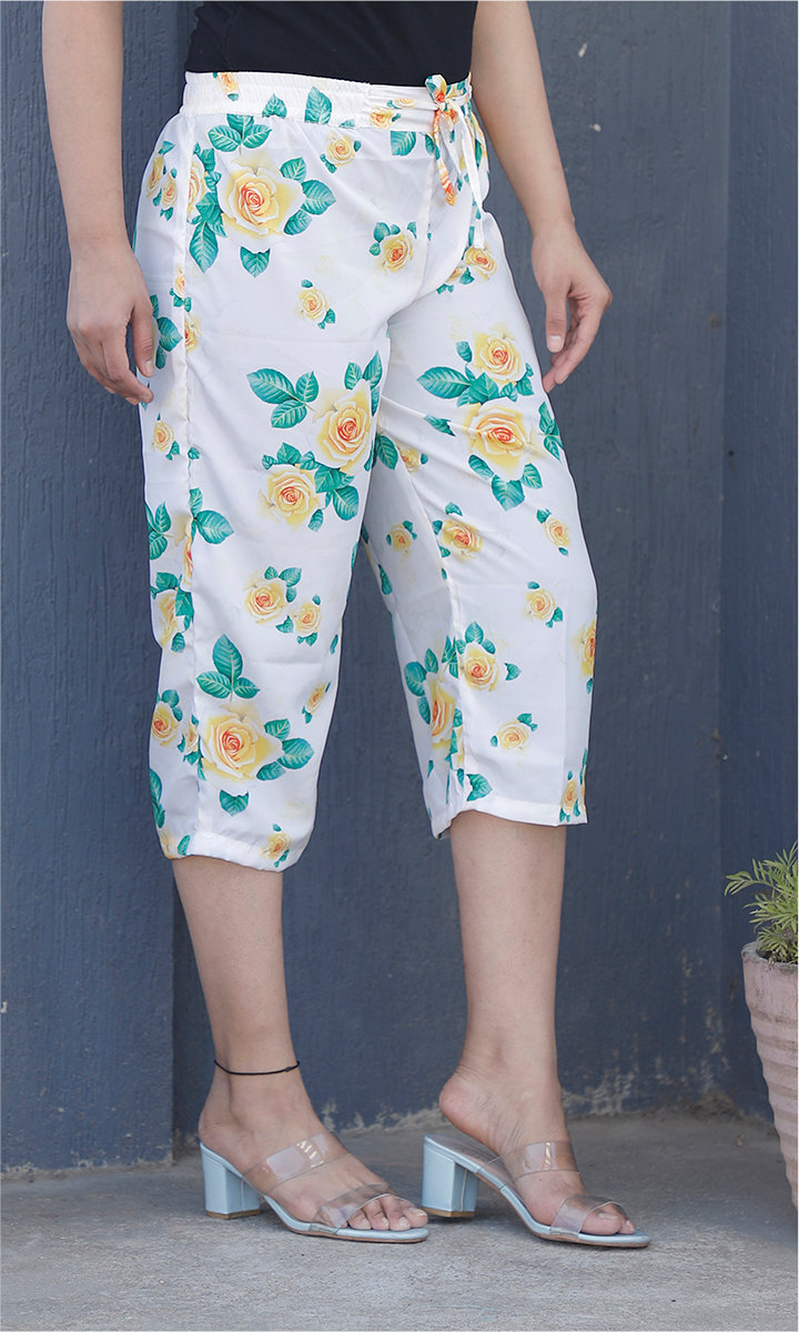 White Yellow and Green Crepe Silk Women culottes-34442