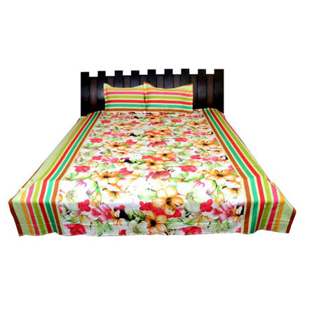 White-Yellow and Green Floral Cotton Double Bed Sheet-0D7