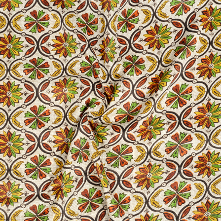 White-Yellow and Green Flower Pattern Kalamkari Manipuri Silk Fabric-16259