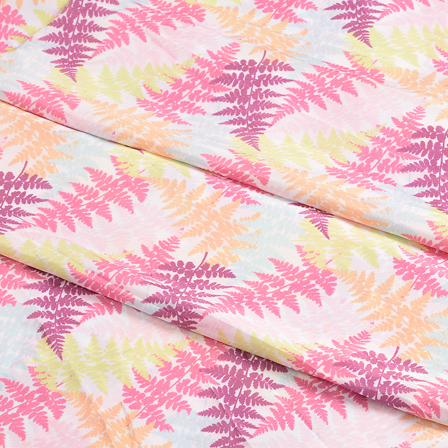 White-Yellow and Pink Leaf Silk Crepe Fabric-18115