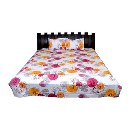 White-Yellow and Pink Printed Cotton Double Bed Sheet-0D56