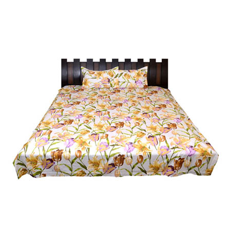 White-Yellow and Purple Floral Printed Cotton Double Bed Sheet-0G10