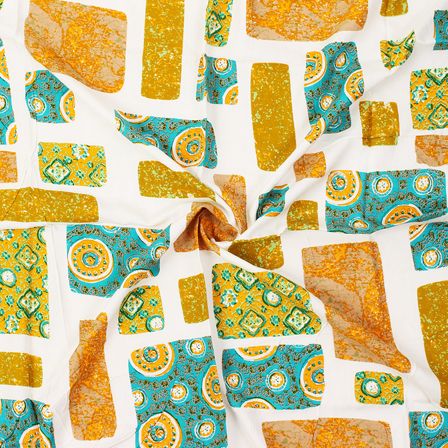 White-Yellow and Sky Blue Unique Design Block Print Rayon Fabric-15047