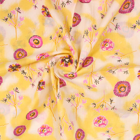 White Yelow and Pink Block Print Cotton Fabric-14821
