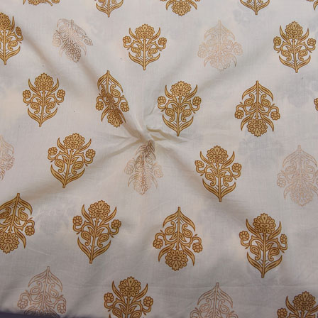 White and Beige Floral Design Block Print Cotton Fabric-14176