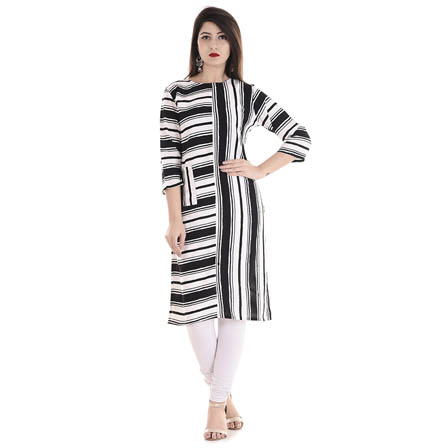 White and Black 3/4 Sleeve Stripes Pattern Rayon Kurti-3112