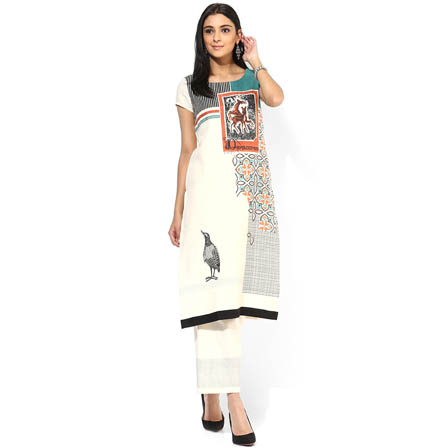 White and Black Cap Sleeve Self Printed Rayon Kurti-3054