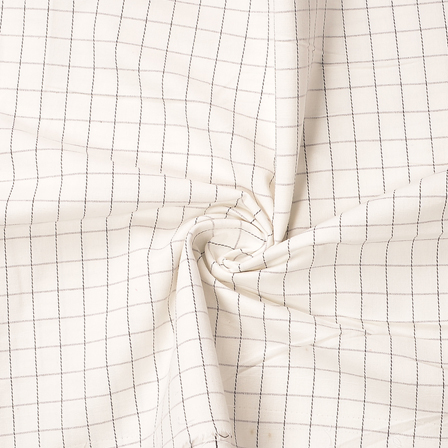 White and Black Checks Design Cotton Handloom Khadi Fabric-40189