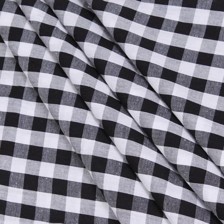 White and Black Checks Handloom Cotton Khadi Fabric-40041