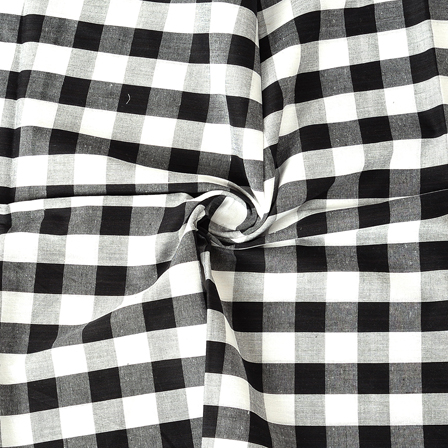 White and Black Checks Pattern Cotton Handloom Khadi Fabric-40174